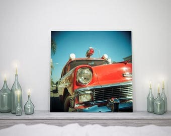 Red Vintage Ambulance - Fine Art Photograph - Wall Art - Gift for the Car Lover - Apartment Decor