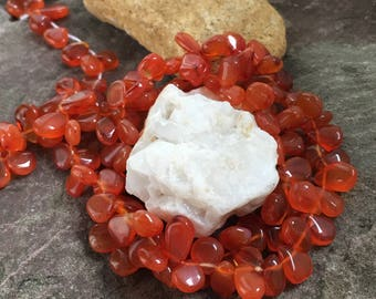 Carnelian teardrop beads, smooth polished, orange carnelian, beading