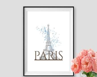 Blue Baloons Paris Print Eiffel tower Art Instant Download Paris Decor Wall Art Paris Black and white Tour Eiffel Poster Travel Print