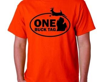 One Buck Tag, Michigan, Short Sleeve T-shirt, Hunting Tshirt