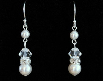 Pearl Earrings, Pearl Dangle Earrings, Sterling Silver Earrings, Swarovski Crystal Earrings, Wedding Earrings, Bridal Earrings, Birthday