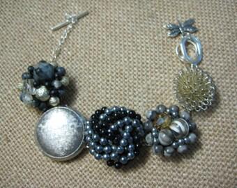 Upcycled Vintage Bracelet, Earring Bracelet, Upcycled Recycled, Repurposed, Silver Gray Black, Vintage Earrings, Vintage Wedding /23