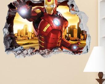Charming Iron Man Smashed Wall Sticker In Wall Crack Superhero Kids Boys Girls  Bedroom Vinyl Decal Art Part 19