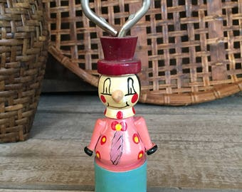 Kitschy Vintage Wooden Clown Bottle Opener from 1950's retro kitchen bar beer bottle bottlecaps