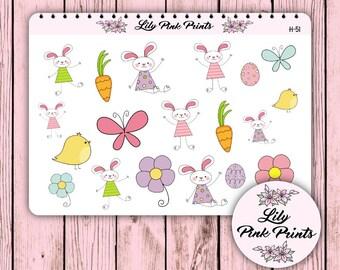 19 Happy Bunnies Stickers H-51 - Perfect for Erin Condren Life Planners / Journals / Stickers.