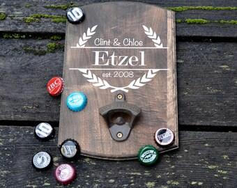 Wall Mounted Laser Engraved Beer Bottle Opener, Beer Lover Gift, Home Bar Personalized Bottle Opener, Wall Mounted, Wedding Gift