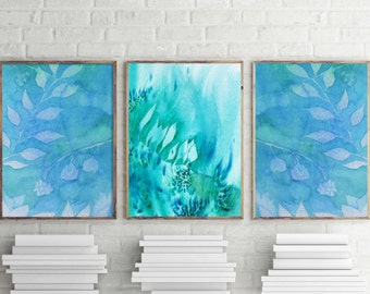 Superbe Teal Wall Art Home Decor Watercolor Wall Decor Teal Watercolor Prints  Nature Wall Art Nature Prints
