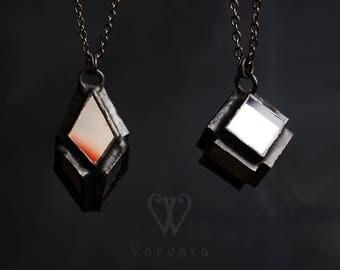 geometric necklace, geometric jewelry, minimalist jewelry, cube necklace, cube pendant, rhombus jewelry, mirror pendant, dark jewelry