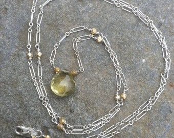 Very long Chain with faceted Lemon Quartz Briolette, Silver, Gold Plated Beads, Necklace, Long, Lemon Quartz, Briolette, Yellow, Apple Green