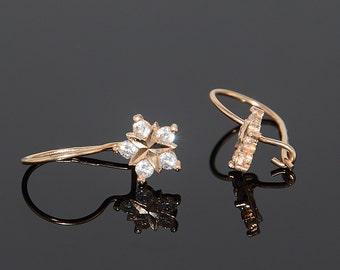 Tiny earrings, Elegant earrings, Petite earrings, 14k gold earrings, Star earrings, White stone earrings, CZ earrings, Rose gold earrings