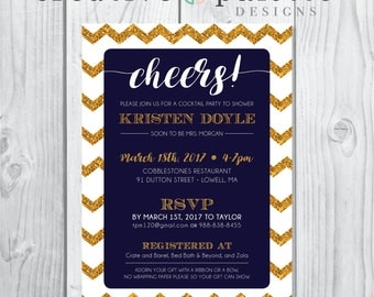 Customizable Gold Glitter Chevron Bridal Shower invitation