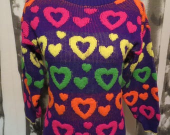 1990's Vintage Lisa Frank Heart Sweater