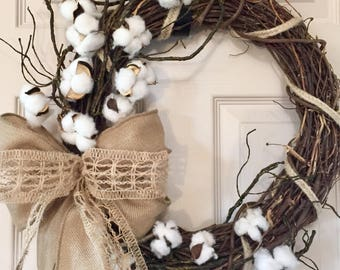 Cotton Grapevine Wreath with Burlap and Mossy Branches; Country Decor Wreath; Primitive Decor Wreath; Rustic Decor Wreath with Burlap Cotton