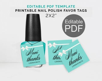 Tiffany Mani Thanks Tags Breakfast Tiffanys Party Nail Polish Template Favors Tag