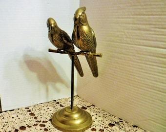 Large Brass Parrot, Brass Parrot Statue, Birds, Hollywood Regency Pair of Brass Birds, Home Decor, Brass Parrots on stand, Metal Sculpture