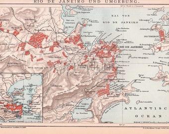 Antique Map of Rio De Janiro - Brazilian Capital, South America - Map from 1890.