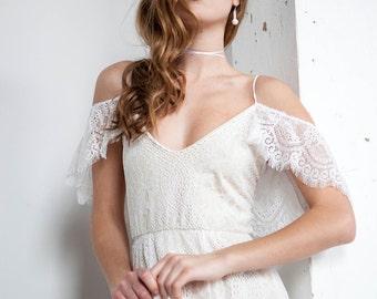 Boho Wedding Dress, Off Shoulder Wedding Dress, Hippie Wedding Dress, Cold Shoulder Wedding Dress, Open Back Wedding Dress - Paris Dress