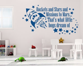 Rockets and Stars Wall Decal - Rocket Wall Decal - Stars Wall Decal - What Little Boys Dream Of - Rocket Wall Decor - Boys Room Decor