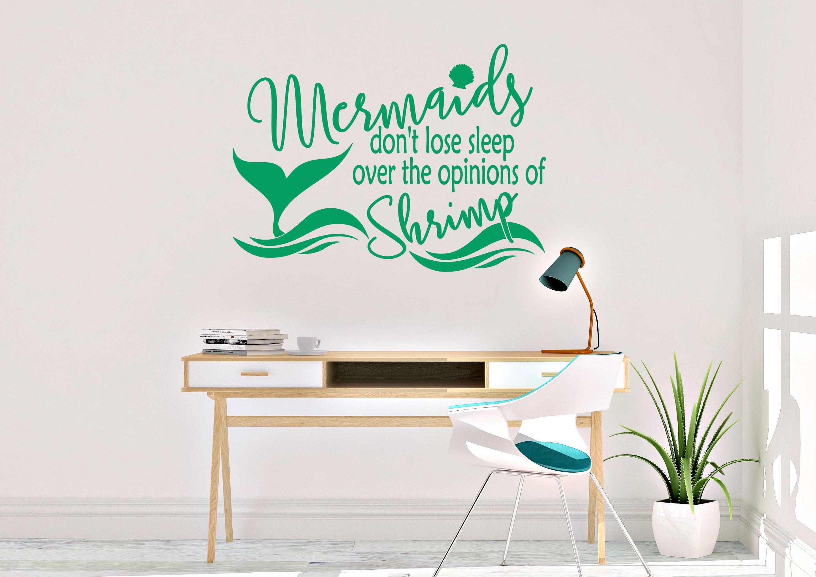 Mermaids Donu0027t Lose Sleep Wall Decal   Mermaid Wall Decal   Vinyl Wall Decal    Mermaid   Mermaid Decals   Mermaid Decor   Mermaid Wall Art
