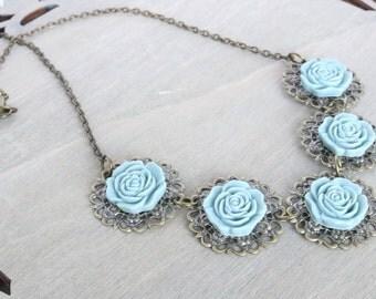 Blue Rose Necklace, Statement Necklace, Bib Necklace, Flower Necklace, Resin Rose Necklace, Bronze Necklace, Vintage Inspired, Boho