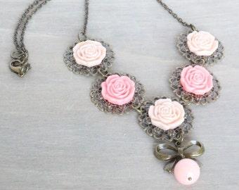 Pink Rose Bronze Necklace, Vintage Inspired, Rose Necklace, Bow Necklace, Bright Pink Rose Necklace, Resin Rose Necklace, Statement Necklace