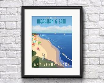 Bridal Gift Any Beach Wedding Giclee Print with Bride and Groom names and wedding date any beach venue, Seaglass Salisbury, Hampton Beach