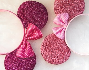 Pink Glitter Mickey Mouse Ears, Mouse Ears, Mickey Ears, Mickey Mouse, Disney Ears, Party Ears, Disney Party, Ears Headband, Hair Bow, Ears