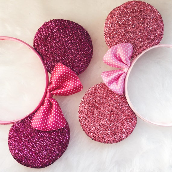 pink glitter mickey mouse ears mouse ears mickey ears. Black Bedroom Furniture Sets. Home Design Ideas