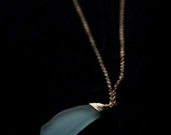 Hawaiian Sea Glass Necklace (aqua with crystal bead)