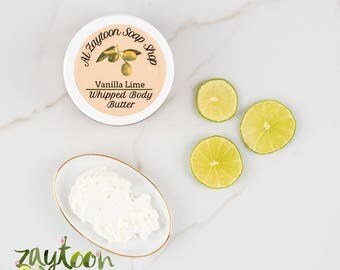 Vanilla Lime Whipped Body Butter -- Hydrating Body Moisturizer All-Natural with Essential Oils