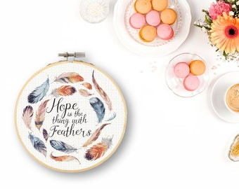 Watercolor Feather Cross Stitch Pattern Hope is the thing with Feathers Emily Dickinson Quote Large Cross Stitch Pattern Watercolors