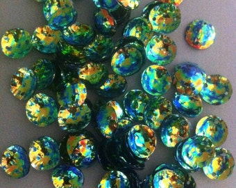 Cabochon Dome Sequins 10mm Deep Sea Green Gold Crystal Finish x 30