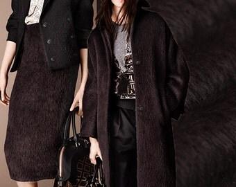 Dark Brown Alpaca Wool Fabric By The Yard Fleeced Fabric Coat Fabric Women Dress fabric Clothing Fabric Jacket Fabric Modern Fabric-BILU
