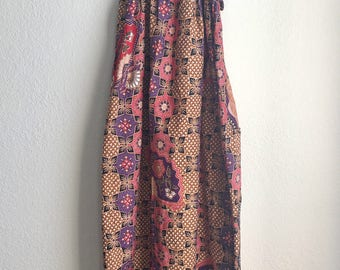 "Vintage Cotton Maxi sleeveless sundress day dress floral sz Small 20"" - 26"" chest"