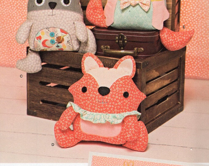 Free Us Ship Craft Sewing Pattern Simplicity 1182 Plush Toy Animal Doll Fox Raccoon Monster  Ruby Jean's Closet Uncut ff
