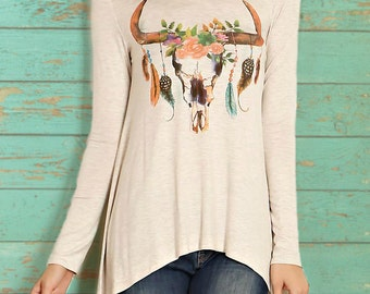 Bull floral print scoop neck asymmetrical top