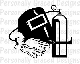 SVG, DXF, EPS Cut file Welding svg, Welder Helmet, Welder Hood, Gloves Tank, silhouette cut file, cameo file, Weld cut file, Weld Design