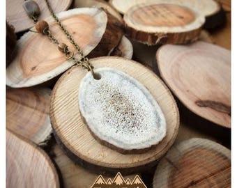 Canadian Elk Antler Necklace with Natural Stones