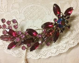 Vintage Red Rhinestone Brooch//Retro Floral Brooch