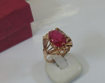 Old ring 583 rose gold Ruby USSR Art Deco GR209