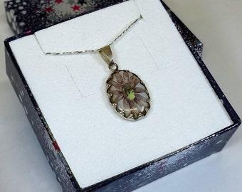 Pendant 925 Silver floral design enamel SK404