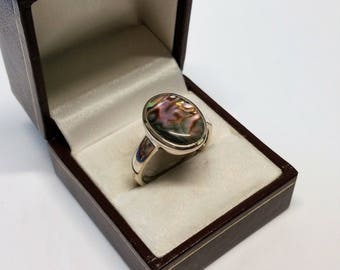 20.6 mm ring Silver 925 abalone shell noble SR716