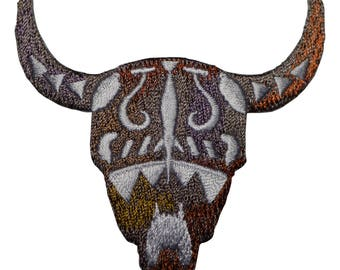 Longhorn Bull Skull Applique Patch (Iron on)