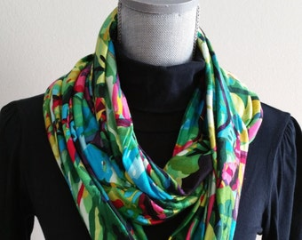Multi-Color floral Spring Scarf, Spring Infinity Scarf, women's fashion, scarves, For her, lightweight, Fashion, floral, multi colour
