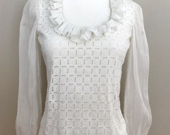Early 1900's Victorian Cotton Eyelet Blouse w/ Ruffle Neckline