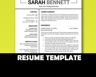 curriculum vitae template resume template instant download teacher resume for word 2 page