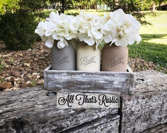 Mason Jar Centerpiece, Mason Jar Planter Box, Planter Box, Mason Jar Decor, Rustic Home Decor, Table Decor, Farmhouse Decor, Neutral Tones