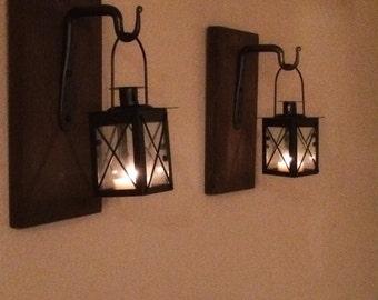 Rustic Hanging Lantern w/ Iron Hook (2)
