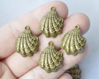 8 Pcs Shell Charms Beach Shell Charms Antique Bronze Tone 23x19mm - YD115