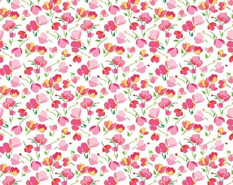 White Floral Passion - Floral Fabric - Paige's Passion by Lila Tueller - Riley Blake - Woven Quilting Cotton - Designer Fabric
